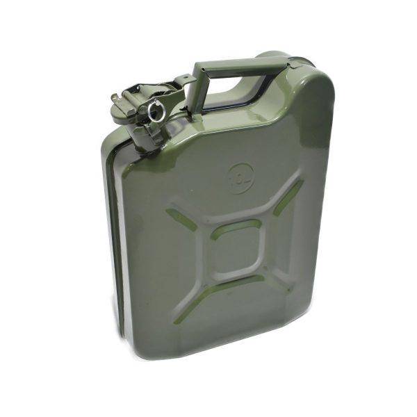 METALEN JERRYCAN 10 LITER Ideaal te gebruiken voor: Tanken van uw voertuig Te maken als frontgewicht voor mini-tractor Afmetingen: Hoogte: 40 cm Breedte: 30 cm Dikte: 13 cm