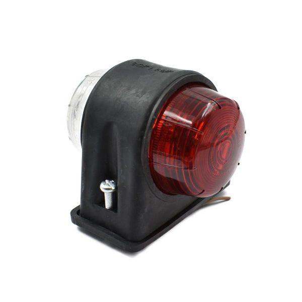BREEDTELAMP UNIVERSEEL ROOD-WIT Extra info: Rood en wit glas Voor 12 en 24 volt Inclusief 12 volt, 5 watt lampje Afmetingen: Hoogte: 72 mm Breedte: 85 mm Lengte: 88 mm