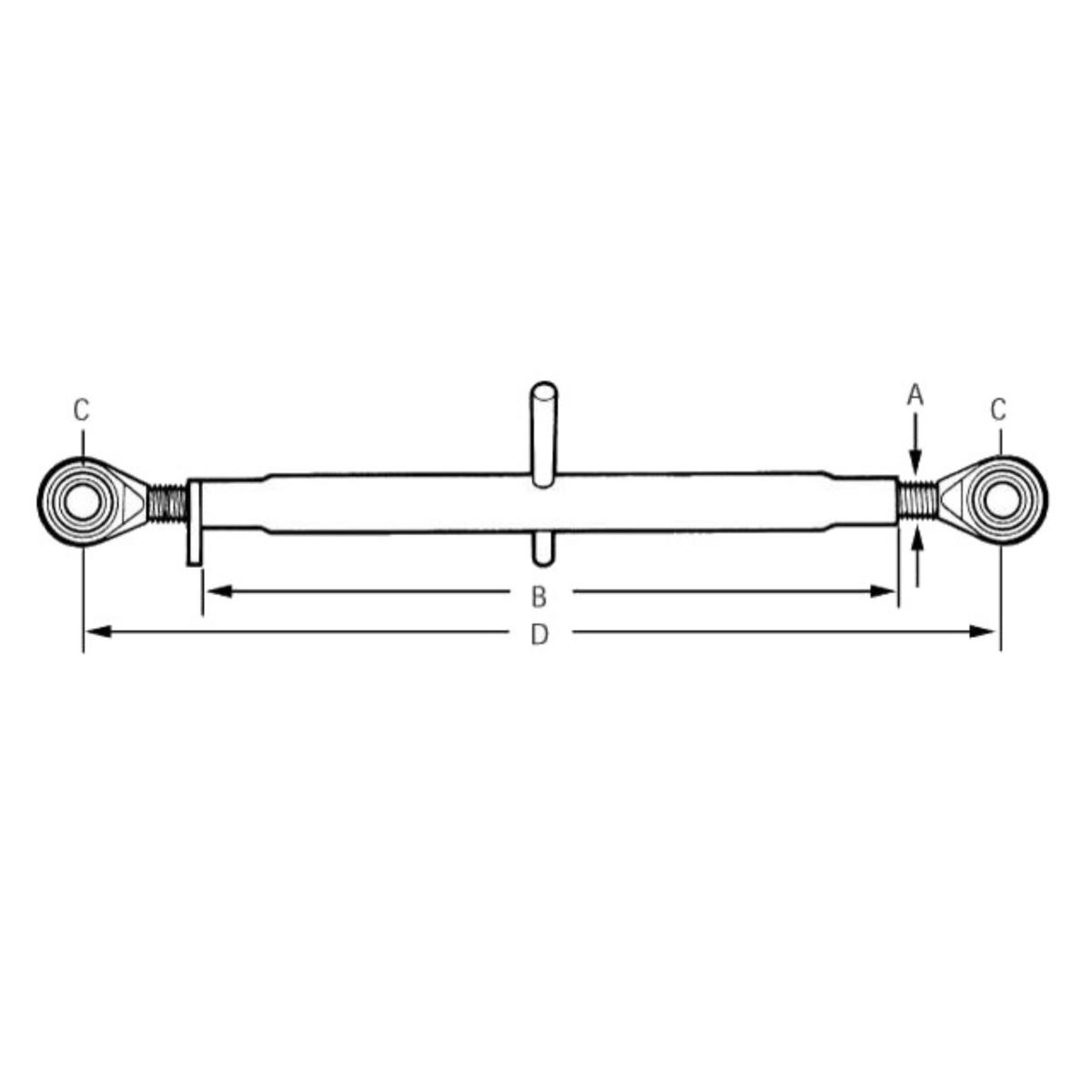 TOPSTANG 320MM CAT.1 Extra info: Topstang voor mini-tractoren Categorie 1 Afmetingen: A: M27 B: 320mm C: 19mm D: 420 – 550 mm